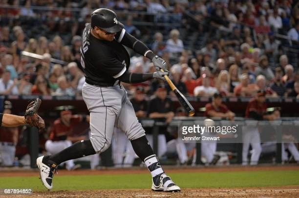 Avisail Garcia of the Chicago White Sox drives in a run while grounding into a double play during the fourth inning against the Arizona Diamondbacks...