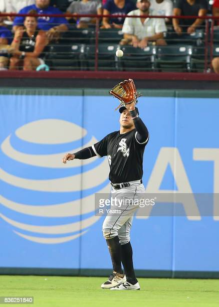 Avisail Garcia of the Chicago White Sox fields a fly ball in the sixth inning against the Texas Rangers at Globe Life Park in Arlington on August 19...
