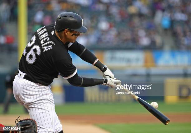 Avisail Garcia of the Chicago White Sox hits a single in the 2nd inning against the Boston Red Sox at Guaranteed Rate Field on May 31 2017 in Chicago...