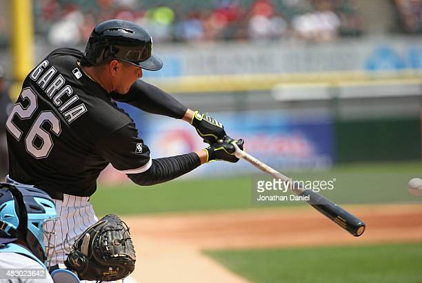 Avisail Garcia of the Chicago White Sox hits a threerun home run in the 1st inning against the Tampa Bay Rays at US Cellular Field on August 5 2015...