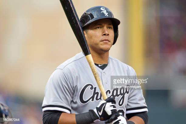 Avisail Garcia of the Chicago White Sox looks on against the Minnesota Twins on August 15 2013 at Target Field in Minneapolis Minnesota The Twins...