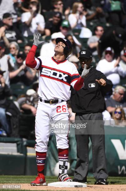 Avisail Garcia of the Chicago White Sox reacts after hitting an RBI double against the Cleveland Indians during the fifth inning on April 23 2017 at...