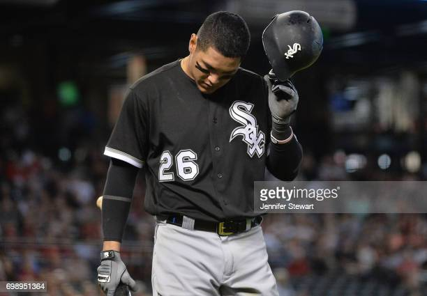 Avisail Garcia of the Chicago White Sox reacts after striking out in the eighth inning of the MLB game against the Arizona Diamondbacks at Chase...