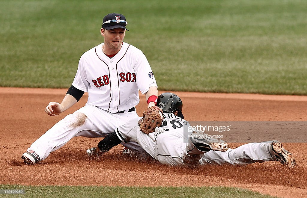 Avisail Garcia #26 of the Chicago White Sox safely steals second as <a gi-track='captionPersonalityLinkClicked' href=/galleries/search?phrase=Stephen+Drew&family=editorial&specificpeople=757520 ng-click='$event.stopPropagation()'>Stephen Drew</a> #7 of the Boston Red Sox applies the tag during the first inning at Fenway Park on September 1, 2013 in Boston, Massachusetts.