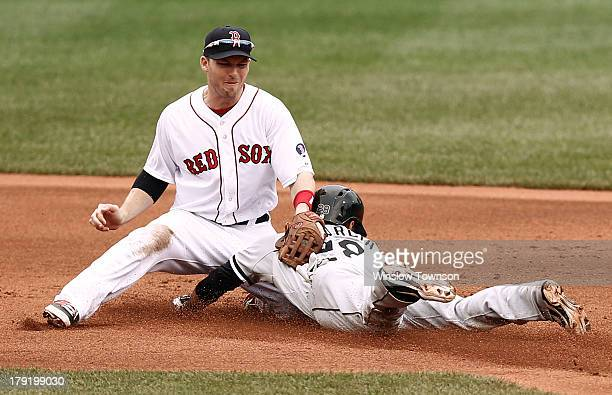 Avisail Garcia of the Chicago White Sox safely steals second as Stephen Drew of the Boston Red Sox applies the tag during the first inning at Fenway...