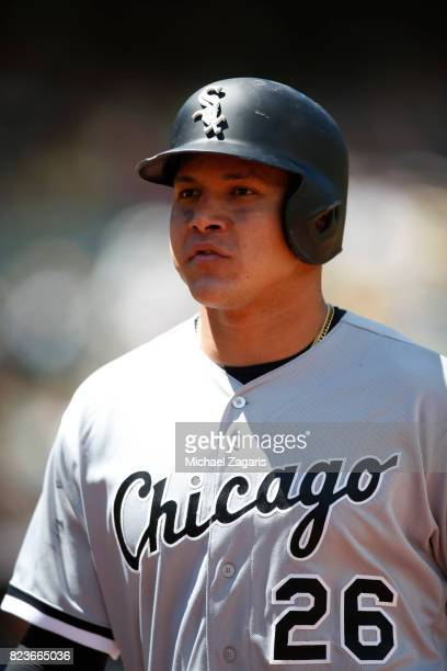 Avisail Garcia of the Chicago White Sox stands on the fieeld during the game against the Oakland Athletics at the Oakland Alameda Coliseum on July 5...