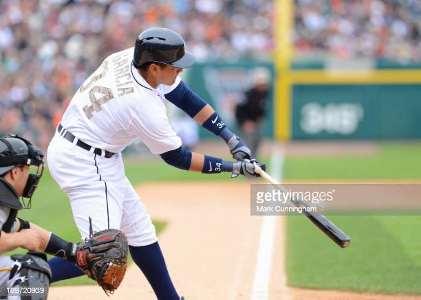 Avisail Garcia of the Detroit Tigers bats while wearing a special camouflage jersey to honor veterans on Memorial Day during the interleague game...