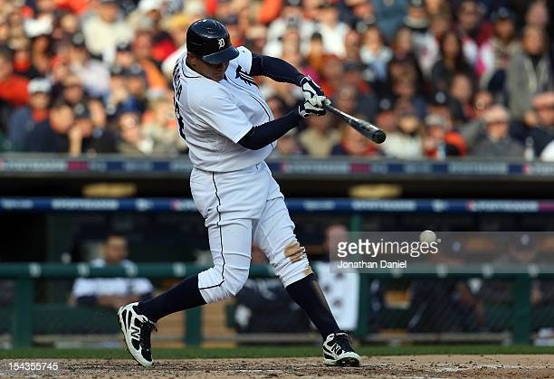 Avisail Garcia of the Detroit Tigers hits a RBI infield single in the bottom of the third inning against the New York Yankees during game four of the...