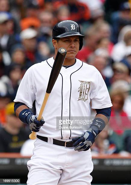Avisail Garcia of the Detroit Tigers waits to bat against the Pittsburgh Pirates during an interleague game at Comerica Park on May 27 2013 in...