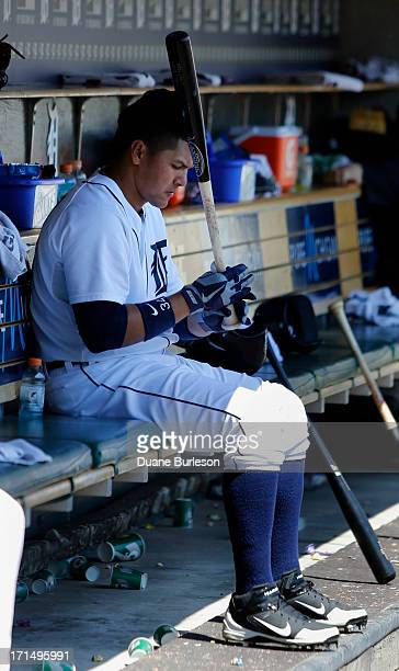 Avisail Garcia of the Detroit Tigers works on his bat during a game against the Baltimore Orioles at Comerica Park on June 19 2013 in Detroit Michigan