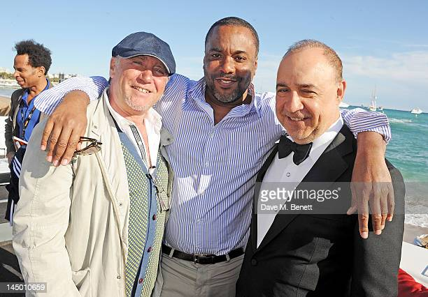 Aviv Giladi director Lee Daniels and Len Blavatnik attend as Icon launches 'The Butler' during the 65th Cannes Film Festival at Baoli Beach on May 22...