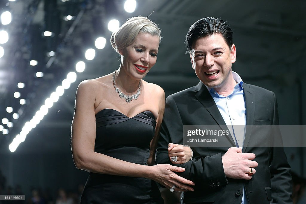 Aviva Drescher and Designer Malan Breton attend the Malan Breton during Fall 2013 Mercedes-Benz Fashion Week at Pier 59 Studios on February 10, 2013 in New York City.