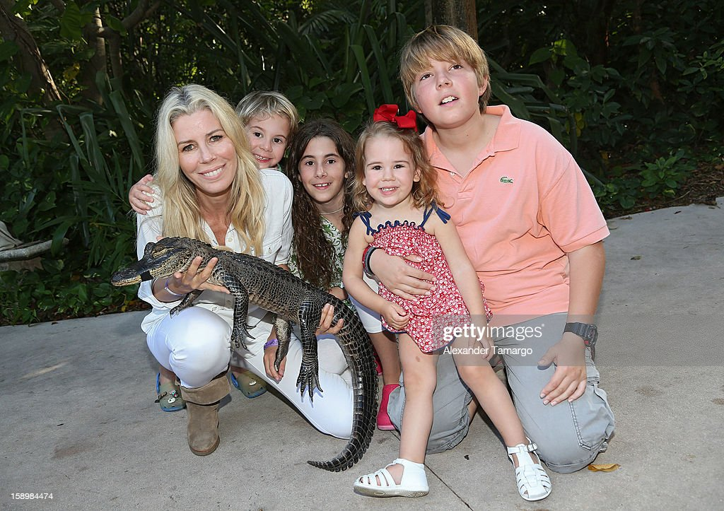 Aviva Drescher, Hudson Drescher, Veronica Drescher, Sienna Drescher and Harrison Drescher are seen during the Jungle Island VIP Safari Tour at Jungle Island on January 4, 2013 in Miami, Florida.