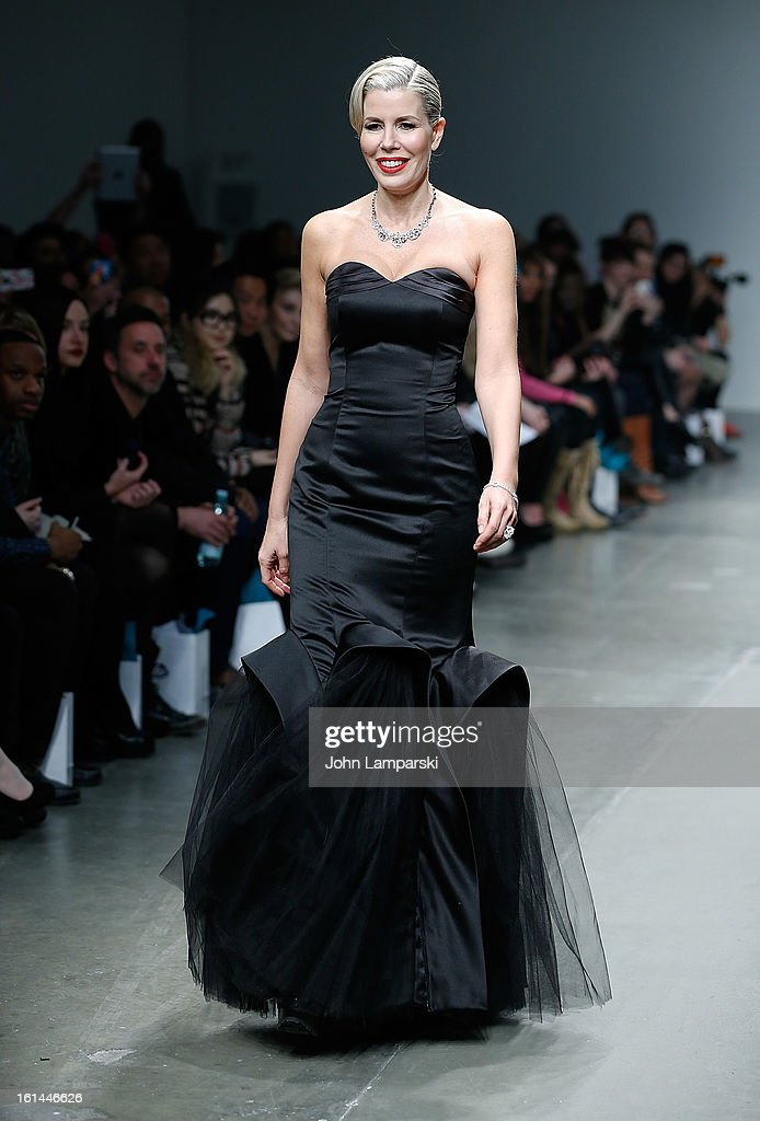 Aviva Drescher walks the runway at the Malan Breton during Fall 2013 Mercedes-Benz Fashion Week at Pier 59 Studios on February 10, 2013 in New York City.
