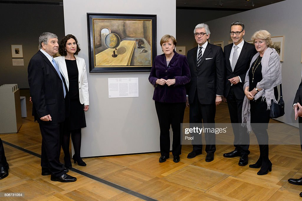 Avner Shalev Rosenberg Chancellor Angela Merkel Walter Smerling Alexander Koch and Prof Monika Grütters attend a preview prior to the opening of the...