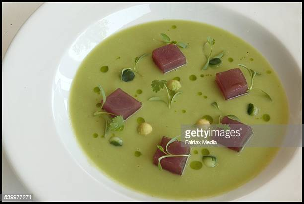 Avocado and cucumber soup with soy marinated tuna 13 December 2005 AFR Picture by JIM RICE