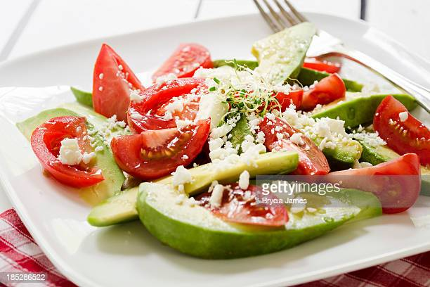 Avocado and Tomato Salad with Feta Cheese Horizontal Close-up