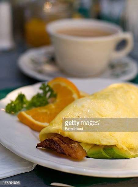 Avocado, Bacon Cheddar Cheese Egg Breakfast Omelet Food, Tea & Coffee
