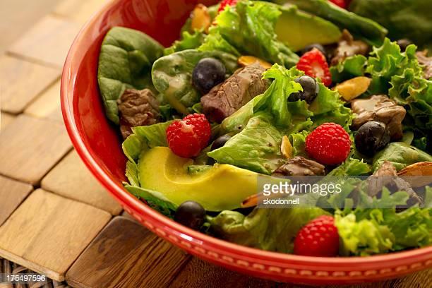 Avocado Blueberry Raspberry Steak Salad