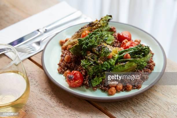 Avocado, broccolini, chickpea, quinoa salad, elevated view