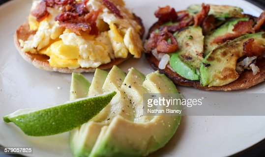 Avocado on toast : Stock Photo
