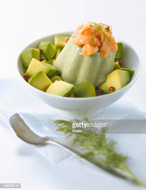 Avocado panacotta with herbs and salmon