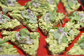 Avocado toast food detail at Rainbeau Mars E Book Brunch Celebration on July 22 2016 in Beverly Hills California
