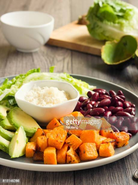 avocado,kidney beans and roasted butternut squash salad