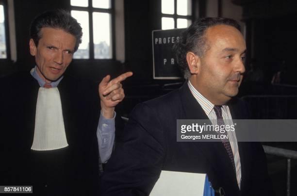 L'avocat Thierry Levy et Alain Boublil au tribunal dans le cadre de l'affaire Pechiney le 25 juin 1993 a Paris France