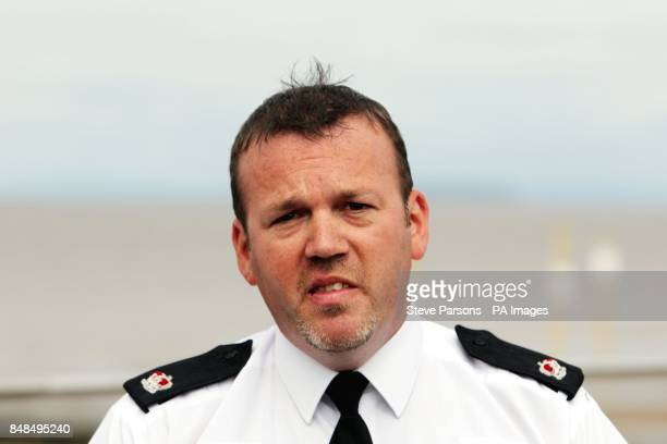 Avon and Somerset Police Deputy District Commander Superintendent Keith McCoubrey speaks to the media at the scene in BurnhamonSea Somerset where the...