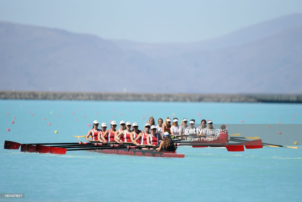 Avon compete in the Women's Senior 8 final during day five of the New Zealand Rowing Championships at Lake Ruataniwha on February 23 2013 in Twizel...