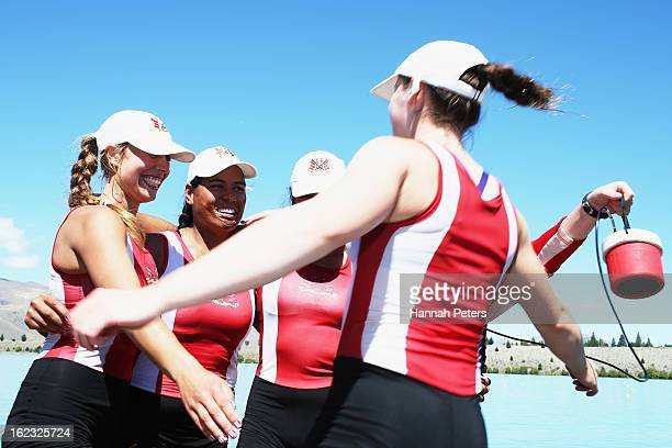 Avon Rowing Club celebrate after winning the Women's Club 4 final during day four of the New Zealand Rowing Championships at Lake Ruataniwha on...