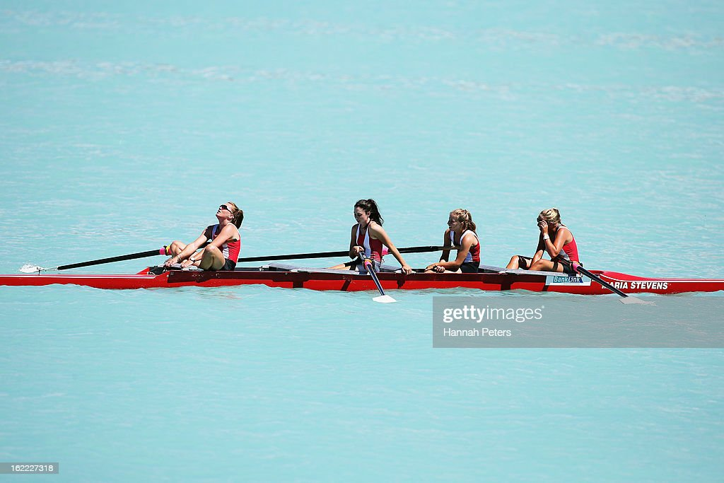 Avon Rowing Club celebrate after winning the Women's Senior 4 final during day three of the New Zealand Rowing Championships at Lake Ruataniwha on...