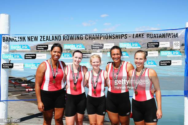 Avon Rowing Club pose for a photo after winning the Women's Club 4 final during day four of the New Zealand Rowing Championships at Lake Ruataniwha...