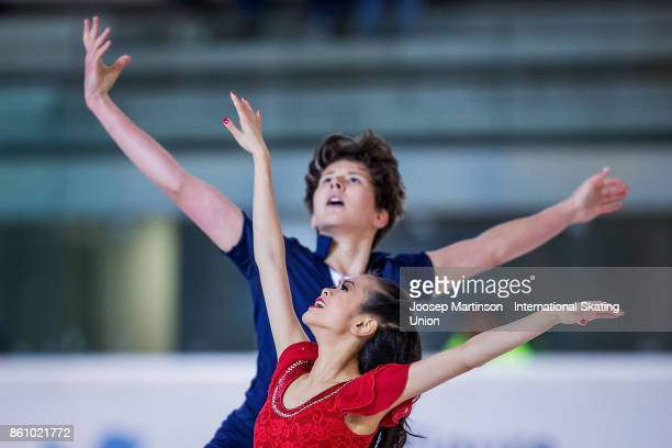 Avonley Nguyen and Vadym Kolesnik of the United States compete in the Junior Ice Dance Free Dance during day one of the ISU Junior Grand Prix of...