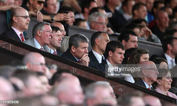 Avram Glazer Sir Alex Ferguson David Gill and Sir Bobby Charlton of Manchester United watch from the directors' box during the Barclays Premier...