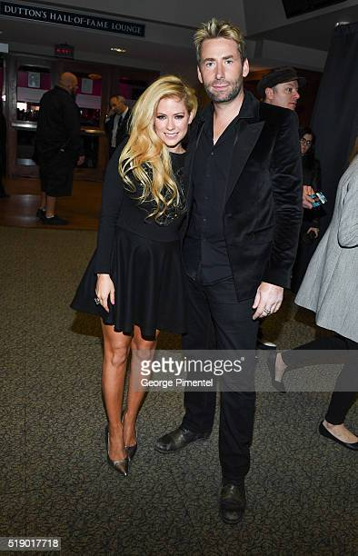 Avril Lavigne and Chad Kroeger attend the 2016 Juno Awards at Scotiabank Saddledome on April 3 2016 in Calgary Canada