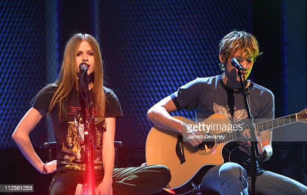 Avril Lavigne and Evan Taubenfeld during Oxygen Network's 'Sarah McLachlan Custom Concert Featuring Avril Lavigne' at The Supper Club in New York...