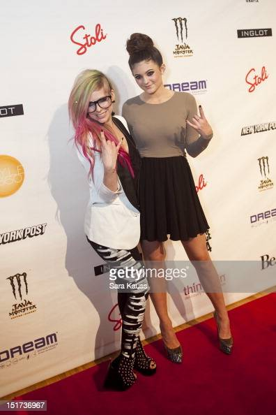 Avril Lavigne and Kylie Jenner arrive at the Abbey Dawn By Avril Lavigne 2013 MercedesBenz Fashion Week Show at Style 360 at Met Pavilion on...
