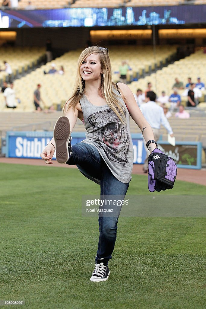 Avril Lavigne attends a game between the San Francisco Giants and the Los Angeles Dodgers at Dodger Stadium on July 20, 2010 in Los Angeles, California.