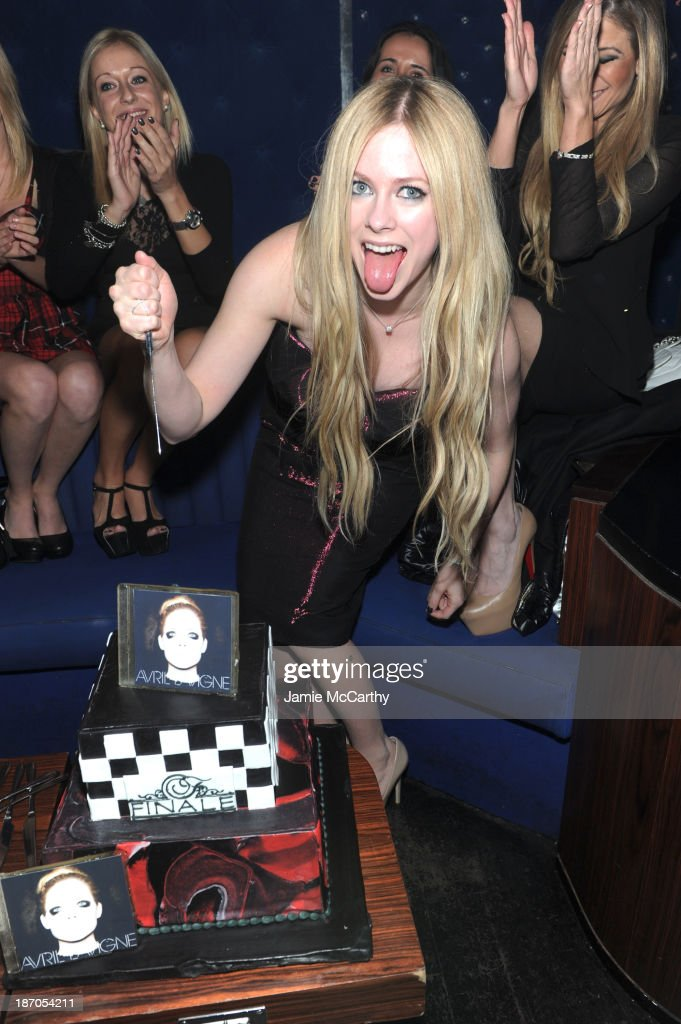 <a gi-track='captionPersonalityLinkClicked' href=/galleries/search?phrase=Avril+Lavigne&family=editorial&specificpeople=171190 ng-click='$event.stopPropagation()'>Avril Lavigne</a> attends her new Album Release Party at the Finale on November 5, 2013 in New York City.