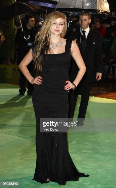 Avril Lavigne attends the Royal World Premiere of Tim Burton's 'Alice In Wonderland' at Odeon Leicester Square on February 25 2010 in London England