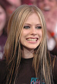 Avril Lavigne during Jake Gyllenhaal and Avril Lavigne Visit MTV's TRL May 25 2004 at MTV Studios in New York City New York United States
