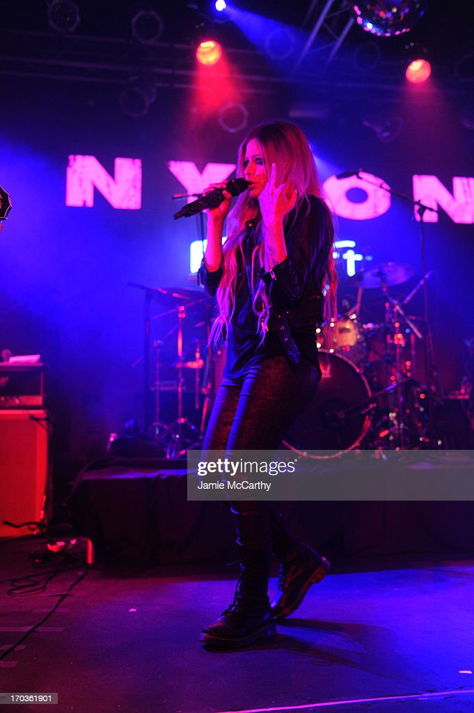 <a gi-track='captionPersonalityLinkClicked' href=/galleries/search?phrase=Avril+Lavigne&family=editorial&specificpeople=171190 ng-click='$event.stopPropagation()'>Avril Lavigne</a> performs as NYLON And Aloft Hotels Celebrate The June/July Music Issue at the Highline Ballroom on June 11, 2013 in New York City.