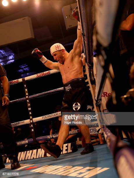 Avtandil Khurtsidze celebrates after being beating Tommy Langford in their Interim WBO World Middleweight Title at the Leicester Arena on April 22...