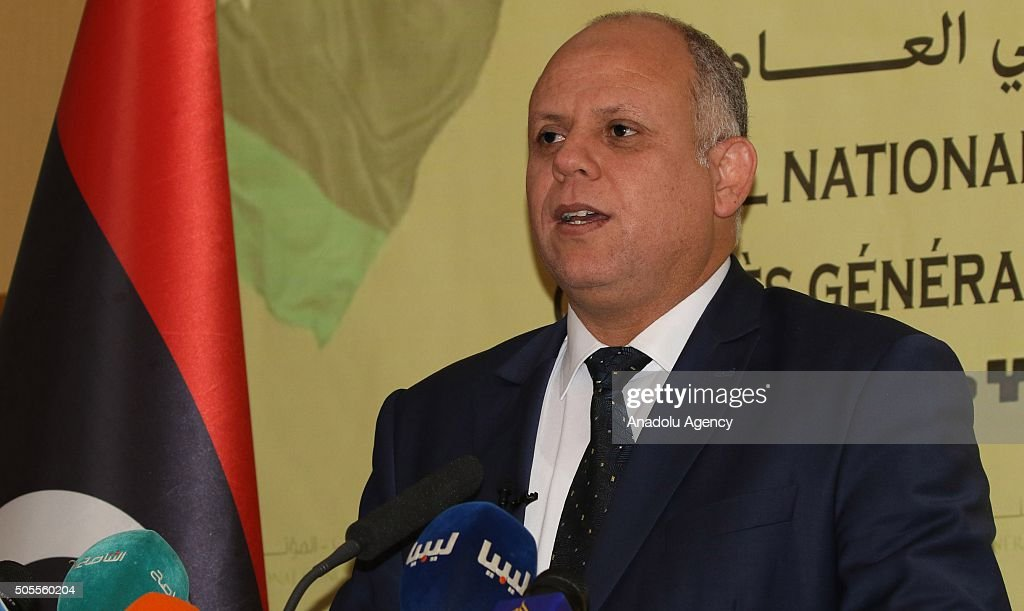 Awad Mohammed AbdulSadiq the first deputy head of the Tripolibased General National Congress gives a speech during a press conference in Tripoli...