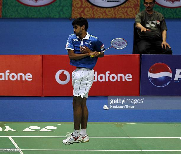 Awadhe Warriors player K Srikanth in action during his match against Krrish Delhi Smashers player B Sai Praneeth in the Indian Badminton League at...