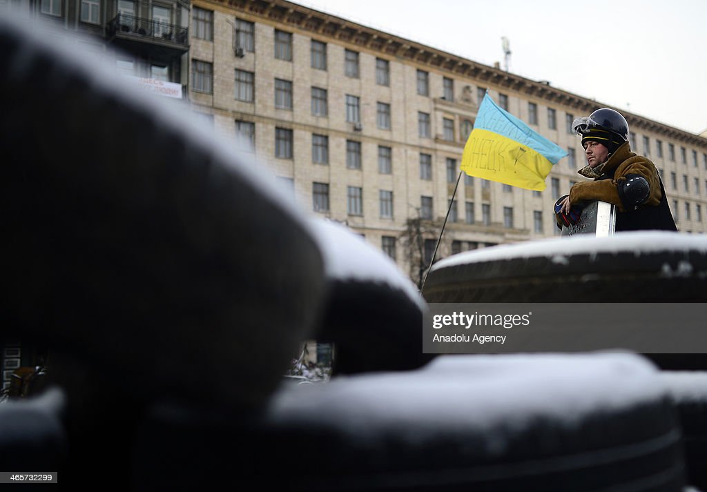 Awaiting of anti-government protesters keep going on in the Ukrainian capital of Kiev, on January 29, 2014.