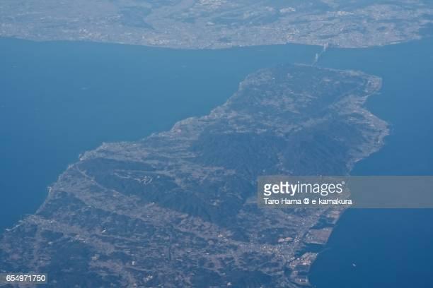 Awaji island, daytime aerial view from airplane