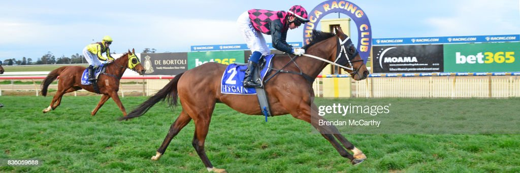 Awake in Grinzing (NZ) ridden by Anthony Boyd wins the Barmah Hotel BM58 Handicap at Echuca Racecourse on August 21, 2017 in Echuca, Australia.